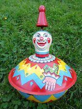 Ancienne toupie tôle lithographiée visage clown cirque années 50 USA chapeau