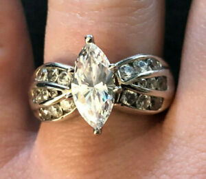 Sterling Silver Ring CZ Diamonique Marquise DQCZ 2 Cts 12x6 Sz 8 6g 925 #1357
