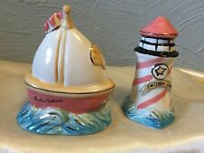 Blue Sky Twilight Cove Sailboat Lighthouse Salt And Pepper Shakers