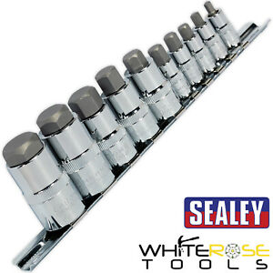 "Sealey Hex Socket Bit Set 10pc 1/4"" 3/8"" 1/2"" Drive Stubby Allen Key 4-19mm"