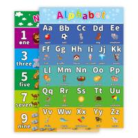 Alphabet Kinder Kids pädagogisches Poster Chart A4 Size Schule Zuhause lernen DE