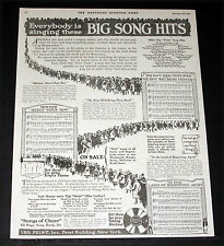 """1919 Old Magazine Print Ad, Leo Feist Wwi War """"Returning Home"""" Song Hits, Art!"""