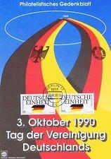 BRD 1990: Deutsche Einheit! Gedenkblatt mit Nr 1477+1478! Berlin-Stempel 3.10.90