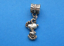 One Little Running Snoopy Dog European Charm on Bail Ears Flapping Puppy Charms