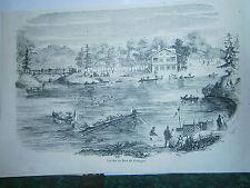 Gravure 19° Les iles du bois de Boulogne Paris canotage guinguette