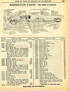 1962 Print Ad of Remington Model 58 Shotgun Parts List