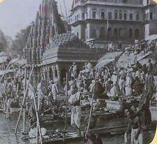 Pilgrims Bathing in the Sacred Ganges, Benares, India, Magic Lantern Glass Slide