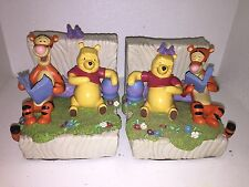 Two Disney Winnie the Pooh & Tigger Bookends Heavy Solid Book Ends Home Decor
