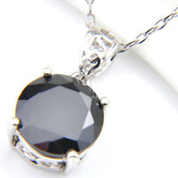 Classial Round Cut Black Onyx Gems Silver Necklace Pendants with Free Chain