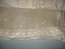 "Long Vintage Ecru Silk Shawl Scarf Table Runner w/White Embroidery 22"" x 90"""