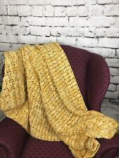 Vintage Handmade Knitted/Crochet Afghan Throw Blanket Mustard Yellow Soft 46x89""