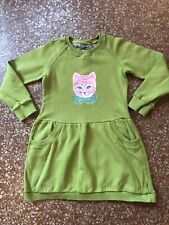 OILILY Girls Dress 128 Green Cat Kitten Winter warm  6 - 8 Yrs GUC