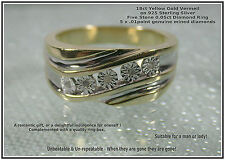 Men's Mans New old Stock 18ct Yellow Gold Vermeil Real .05ct Diamonds Ring UK T