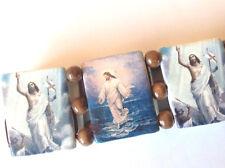 wholesale 6 Jesus BRACELETS wood w brown beads bulk job lot Christian kitsch