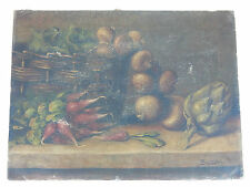 kitchenalia EARLY  OIL PAINING STILL LIFE VEGETABLES ARTICHOKE ETC to restore