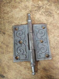 "Vintage Eastlake Steel 3 1/2""x3 1/2"" Hinges Steeple Tips Removable Pin"