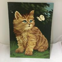 Vintage PBN Paint By Number Kitten w Butterfly 12 x 9 Inches Cat So Cute!