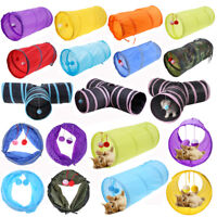 Collapsible Pet Cat Kitten Tunnel Toy Playing Tube With Tinkle Bell Plush Ball