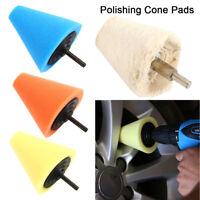 4x Foam Wool Polish Buffing Polishing Cone Foam Pads For Car Wheel Hub Corner