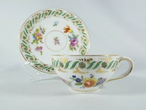 Antique Edwardian 1900 Dresden Coffee Cup Saucer Duo Set Ovid Hand Painted