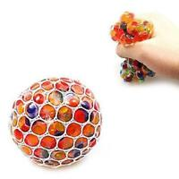 RAINBOW SQUISHY MESH BALL STRESS RELIEVER SQUEEZE TOY COLOURFUL SLIME PARTY x 2