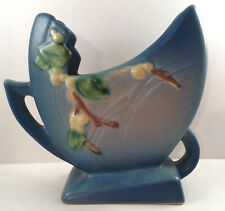 Roseville Pottery Snowberry Pattern Vase Blue Flower Holder Fan 1940s Art 1FH 6