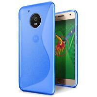 Handy Hülle Motorola Moto G5 Plus Slim Case Silikon Cover Schutz Tasche Blau