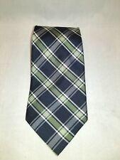 G.H. Bass & Co. Blue with Green Stripes Plaid 100% Silk Men's Tie / Necktie