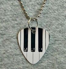 Metal Guitar Pick Necklace PIANO keyboard keys music instrument acoustic pendant