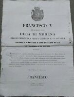 1849 18)MODENA MANIFESTO DI FRANCESCO V° SU SPOSTAMENTO SEDE GOVERNO A BRESCELLO