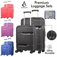 "Aerolite Premium Hard Shell 28"" Suitcase + 21"" Carry On Hand Cabin Luggage Set"