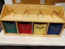 Key Holder Wall Shelf 4 Hooks Wooden Organizer Colored Baskets