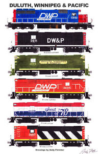 "Duluth, Winnipeg & Pacific Locomotives 11""x17"" Poster by Andy Fletcher signed"