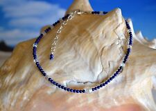 Dark Blue Lapis Lazuli & Swarovski Crystal Ankle Bracelet 9 to 11 Inches