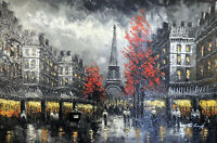 Paris Street 1890s Eiffel Tower Black & White Scene 24X36 Oil Painting STRETCHED
