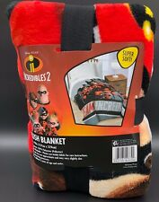 Disney Pixar Incredibles 2 Single Full Bed Blanket Gray 62in x 90in New