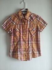 Rockies Womens Western Short Sleeve Plaid Blouse  100% Cotton Size Small