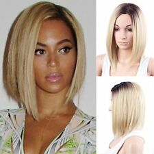 Ombre Synthetic Hair Wig Dark Roots Black Brown to Bleach Blonde Short Bobo Stra