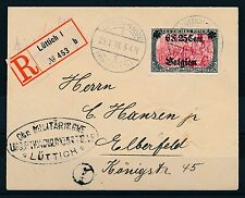Dt. Besetzung I. WK Landespost Belgien Mi-Nr. 25 I, 6 F. 25 C. auf 5 Mk. R-Brief