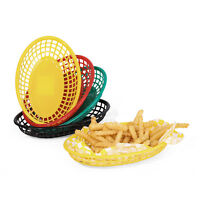 12pcs Plastic Serving Fast Food Basket Red Black Hamburger Bread Restaurant Tray