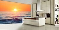 3D Sunrise over the Horizon Self-adhesive Living Room Wallpaper Bedroom Murals