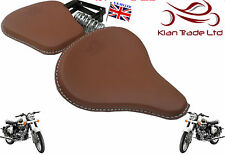 BROWN LEATHER CLASSIC HARLEY STYLE SADDLE SEATS TRIUMPH ROYAL ENFIELD