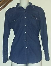 Wrangler Vintage Western Shirt Dark Blue Denim Pearl Snap X-long Tails 16 1/2