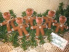 Set of 6 Christmas handmade fabric Gingerbread ornaments Wreath-making Decor