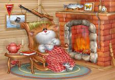 У камина / Fireplace  Russian modern Postcard Art / Postcrossing
