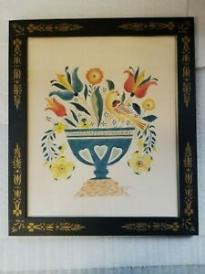 Gorgeous Large Vintage Theorem Painting, Beautiful Frame, by Harriett West 1984