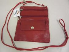 """Red Li Leather Neck Purse with String 7"""" x 5.5"""" with Zipper Pockets C-13"""