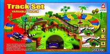 AOLE DINOSAUR FLEXIBLE TRACK CAR RACING PLAY SET WITH SOUND & LIGHTS - KIDS TOY