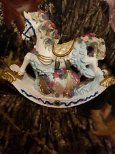 "Musical Rocking Carousel Horse Plays ""Memories"" - Vintage White Horse Music Box"