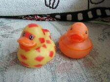 """Small Rubber Orange and Yellow Duckies (2), approx 2 1/4"""" long"""